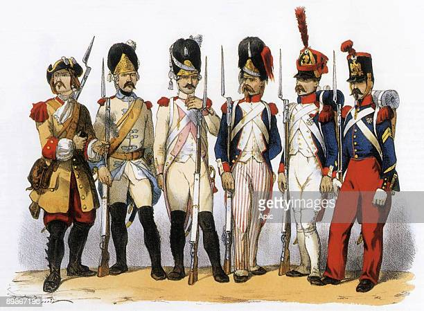 Costumes of the French army infantry grenadiers gdline 1674 in LouisXIV in 1750 LouisXV in 1786 LouisXV 1794 under the republic 1810 1st Empire...