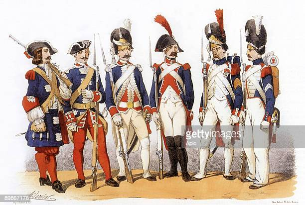 Costumes of the French army special forces gd 1690 French guards 1740 French guards 1785 French Grenadier Guards 1794 custody of the National...