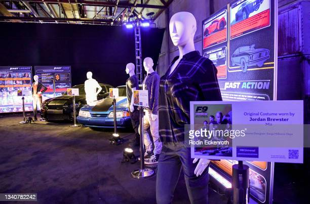 Costumes on display at the F9 Fest event on the Universal Studios backlot celebrating F9: The Fast Saga on September 15, 2021 in Universal City,...