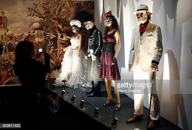 Costumes used during the shooting of the movie 'Spectre' are displayed as part of an exhibition dedicated to James Bond 007 'The Designing 007 Fifty...