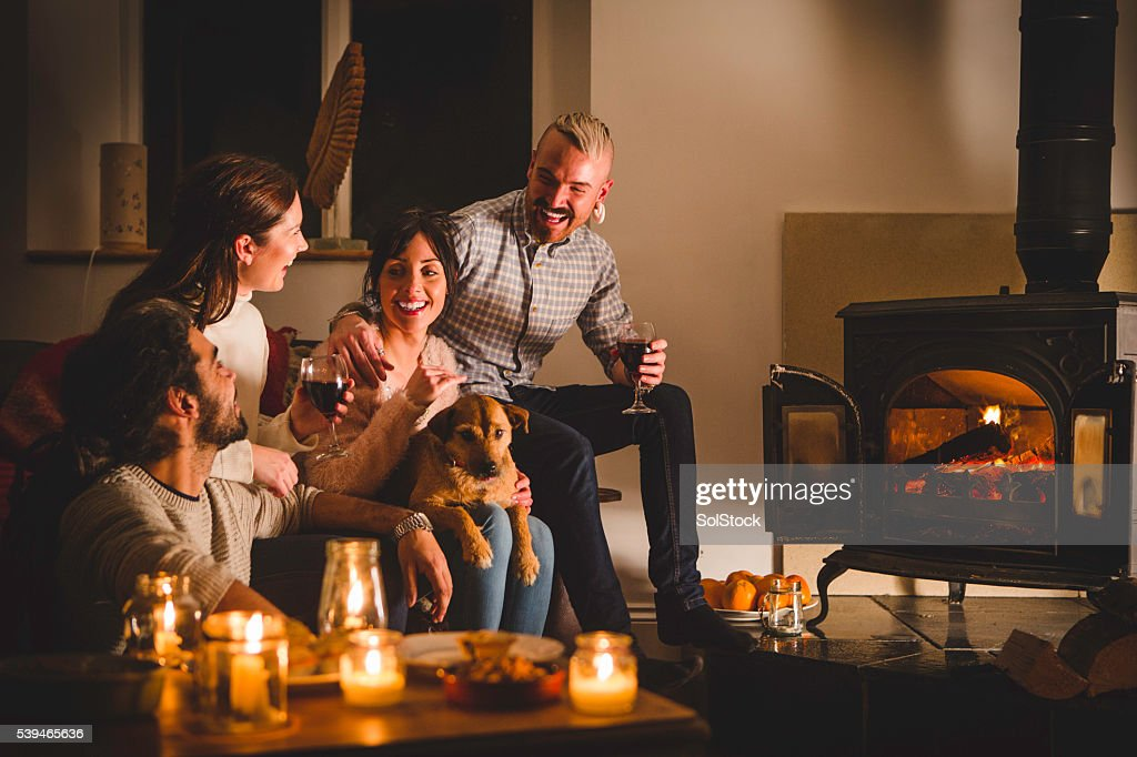 Cosy Drinks by the Fire : Stock Photo