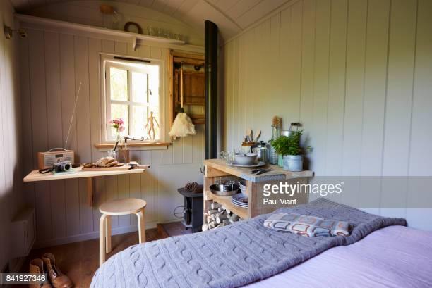 cosy shepherds hut interior