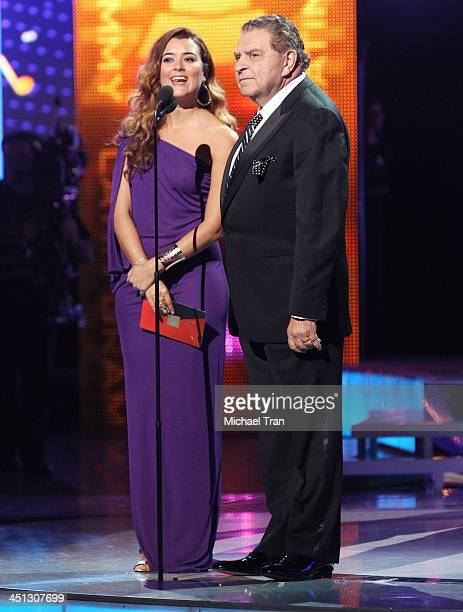 Cote de Pablo and Mario Luis Kreutzberger Blumenfeld speak onstage during the 14th Annual Latin GRAMMY Awards held at Mandalay Bay Resort and Casino...