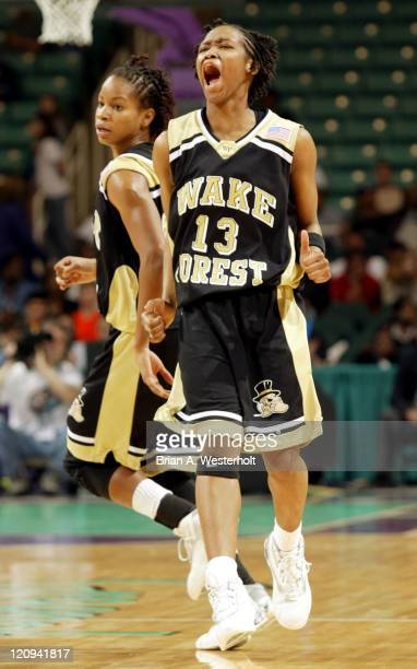 Cotelia Bond-Young reacts after hitting a game tying 3-pointer late in the second half as 9th seed Wake Forest defeated 8th seed Georgia Tech 61-59...