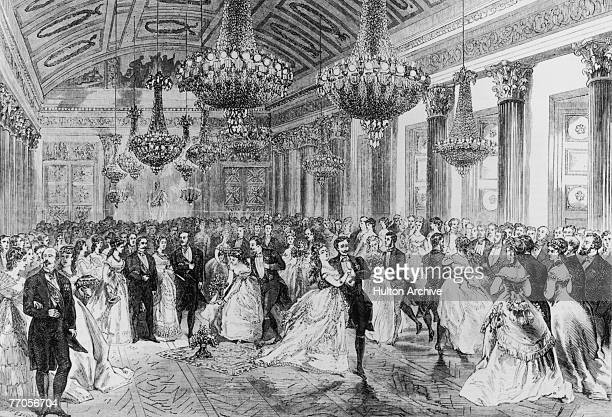 A cotillion danced in the ballroom of the palace at Compiegne 1868 By Jules Pelcoq