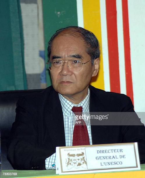 UNESCOs Director General Koichiro Matsuura of Japan listens to delegates as he chairs the first forum on Education in Cotonou 12 February 2007 Benin...