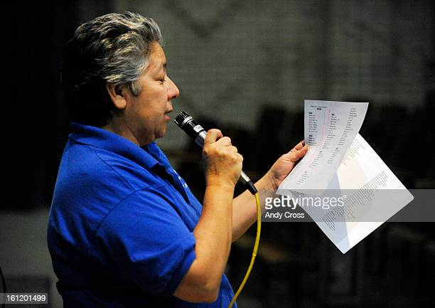 """Trevista at Horace Mann school Principal, Veronica Benvidez, reads the name of students to be awarded at a """"Falcon Soar Assembly"""" Thursday morning...."""