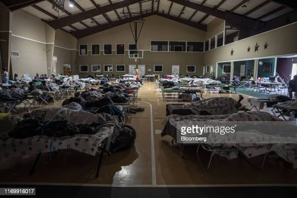 Cots are set offering temporary shelter at First Baptist Church following Tropical Storm Imelda in Hamshire Texas US on Friday Sept 20 2019 The...