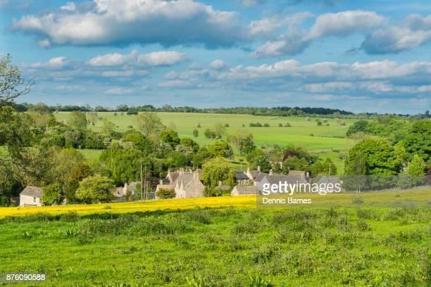 Cotswold countryside views, fields, landscape, near Bourton-on-water, UK