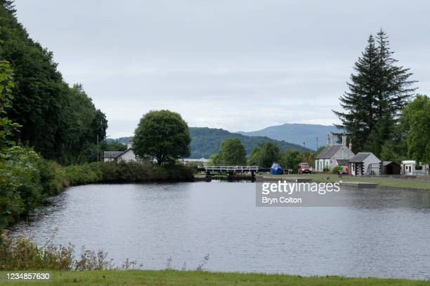 Cottage alongside sea locks nine and ten on the Crinan Canal in Dunardry, Scotland, on Thursday, August 19, 2021. Passage along the canal has been...