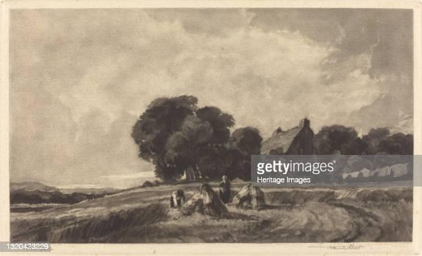 Cottage and Harvesters, 1907. Artist Frank Short.