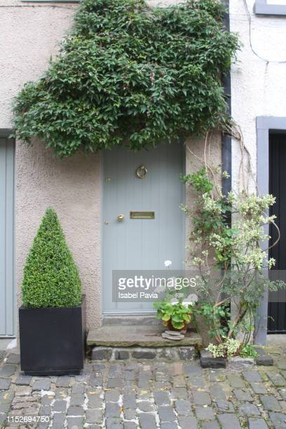 cottage door with plants, edinburgh, scotland - tradition stock pictures, royalty-free photos & images