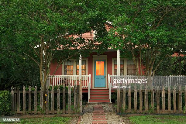 cottage facade at dusk - rural scene stock pictures, royalty-free photos & images
