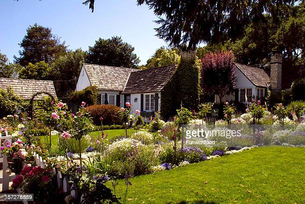 Cottage Formal Garden, Classic American Home & Front Yard Flower Bed