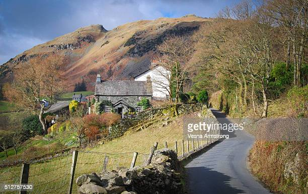 cottage near country lane - ambleside stock photos and pictures