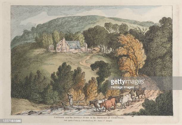 "Cottage near the Devils Jump in the Dutchy of Cornwall, from ""Views in Cornwall"", April 12, 1812. Artist Thomas Rowlandson."