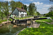 Cottage next to canal lock near Hungerford in England