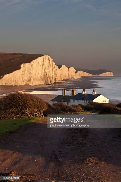 Cottages and Sussex coastline