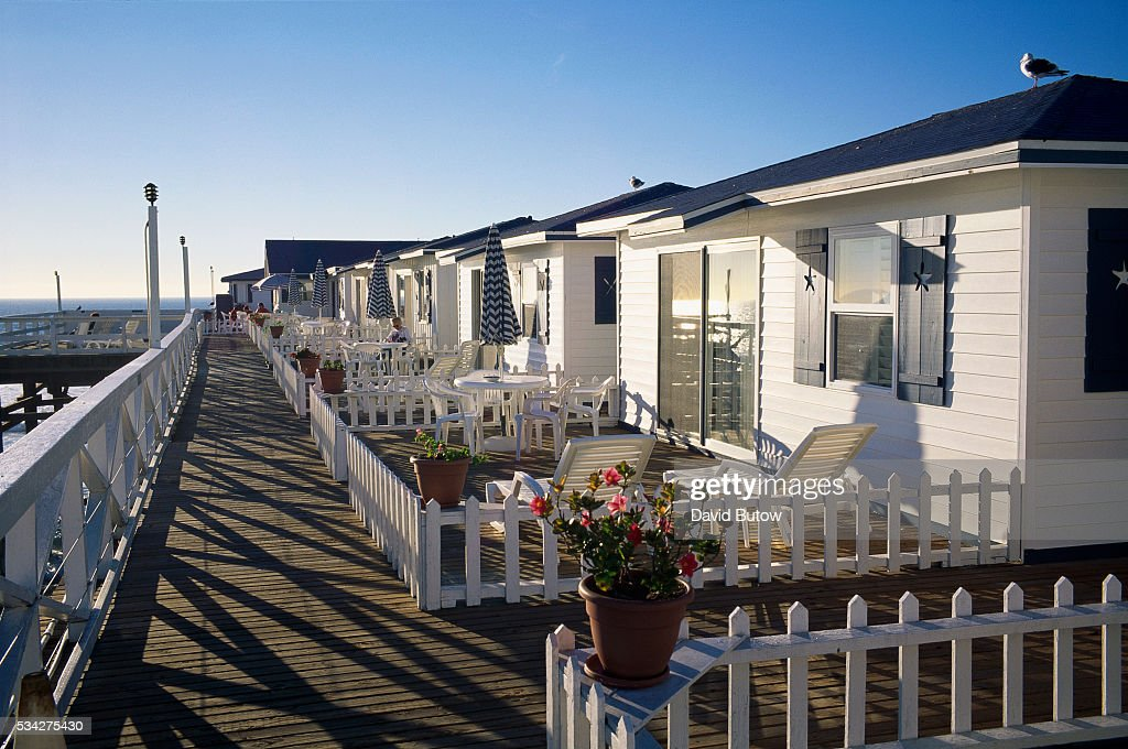Cottages Stand On Crystal Pier In The Pacific Beach Community Of San Go