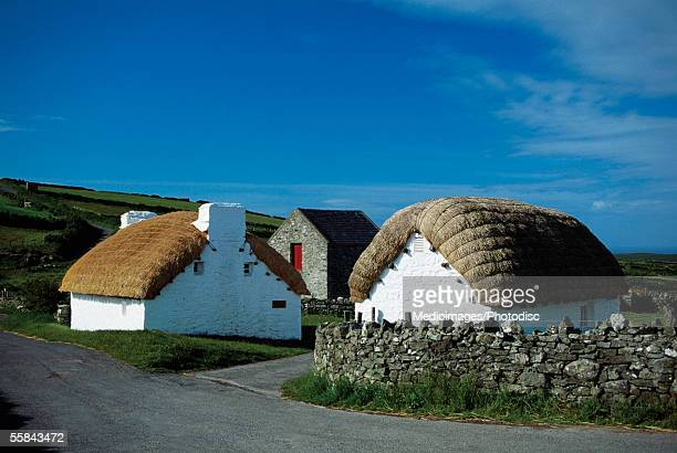 cottages with thatched roofs, cregnesh, isle of man, british isles - isle of man stock pictures, royalty-free photos & images
