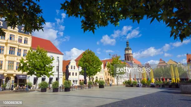 cottbus brandenburg - altmarkt with church - cottbus stock pictures, royalty-free photos & images