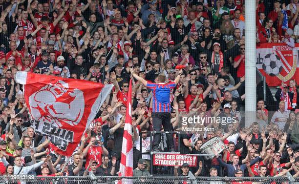 Cottbus fans are pictured during the 3. Liga match between FC Energie Cottbus and VfL Osnabrueck at Stadion der Freundschaft on April 27, 2019 in...