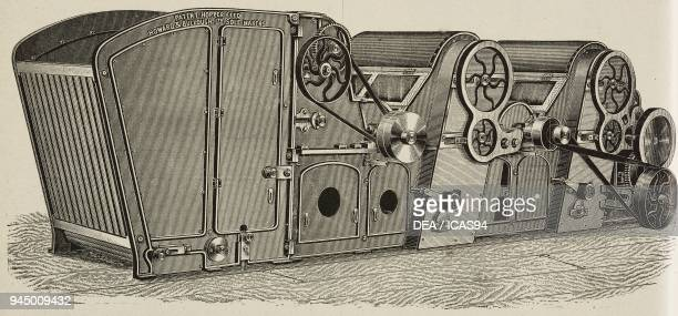 Cotton bale opener and beater produced by Howard Bullough Accrington UK spinning machine illustration from L'Industria Rivista tecnica ed economica...