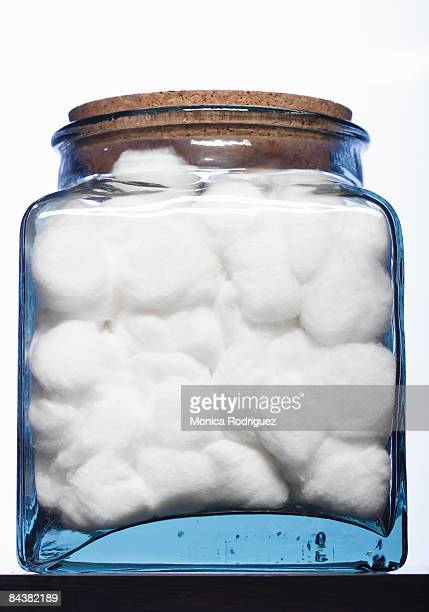 cotton balls in a jar - cotton wool stock pictures, royalty-free photos & images