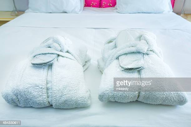 Cotton bathrobe and slippers
