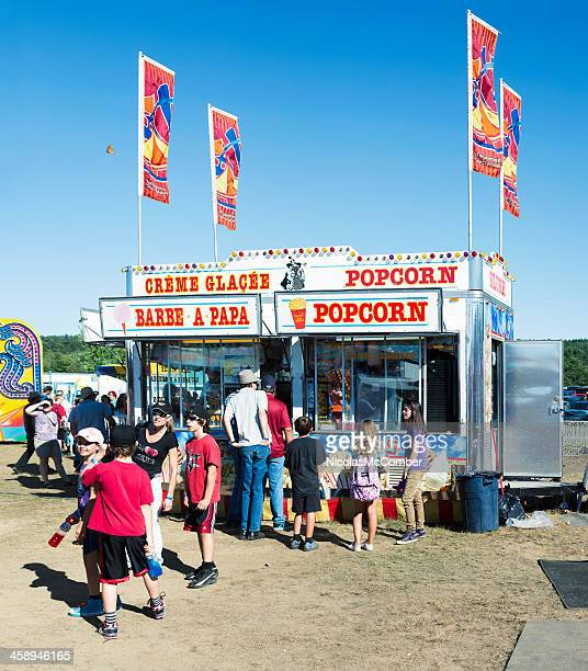cotton candy and popcorn stand at brome county fair - eastern townships stock pictures, royalty-free photos & images