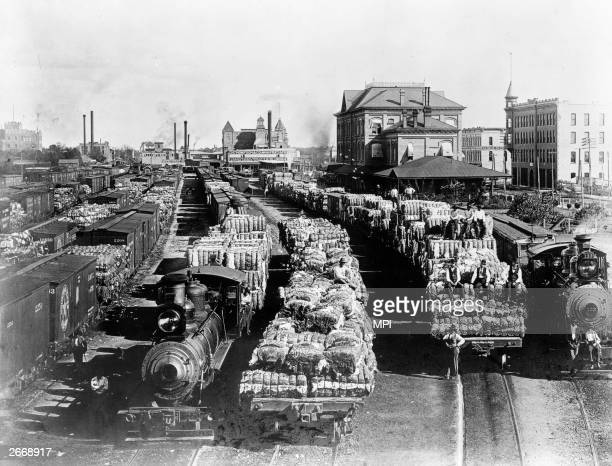 Cotton loaded on flat cars for transportation north from Atlanta Georgia