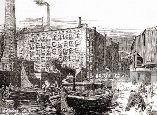 Cotton Mills Miles Platting Manchester England in the 19th century From The Century Edition of Cassell's History of England published c 1900