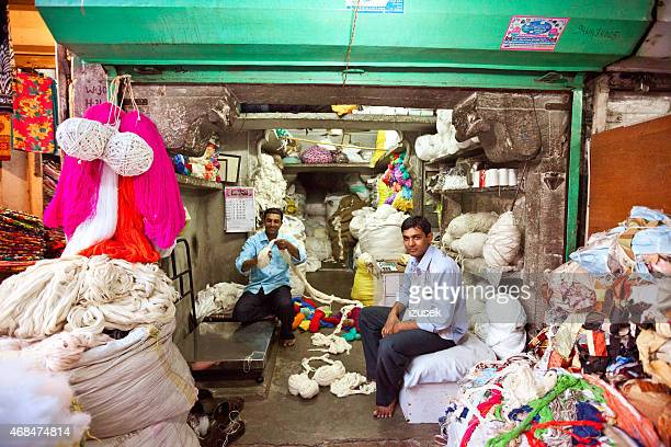 cotton shop, jodhpur - blue city, india - izusek stock pictures, royalty-free photos & images