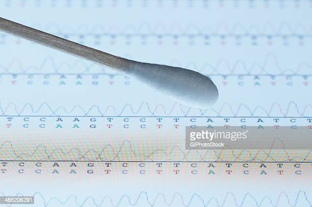 Cotton swab with saliva sample over the screen of a tablet computer that displays results of automated DNA sequencing