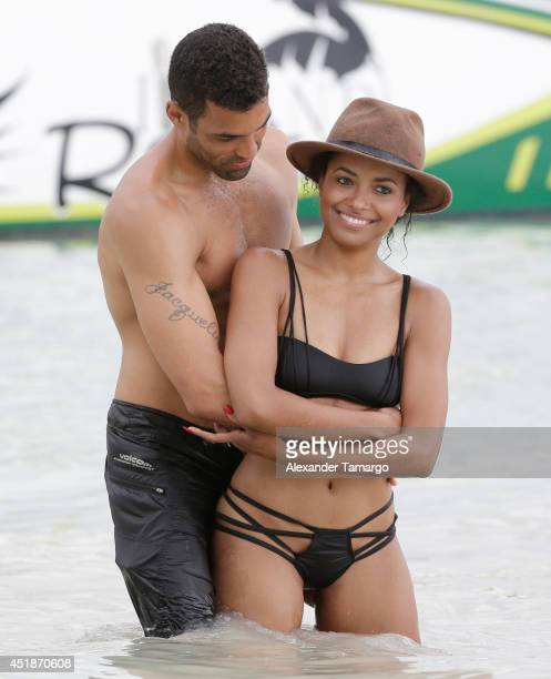 Cottrell Guidry and Kat Graham are seen vacationing at Sandals Whitehouse European Village Spa on July 3 2014 in an unspecified location in Jamaica