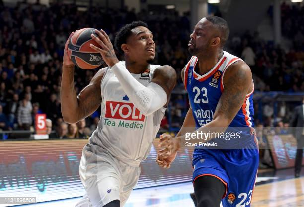 Coty Clarke #7 of Buducnost Voli Podgorica competes with James Anderson #23 of Anadolu Efes Istanbul during the 2018/2019 Turkish Airlines EuroLeague...