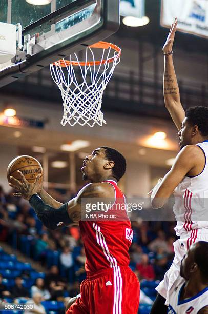 Coty Clarke of the Maine Red Claws drives to the basket against the Delaware 87ers on February 5 2016 at the Bob Carpenter Center in Newark Delaware...