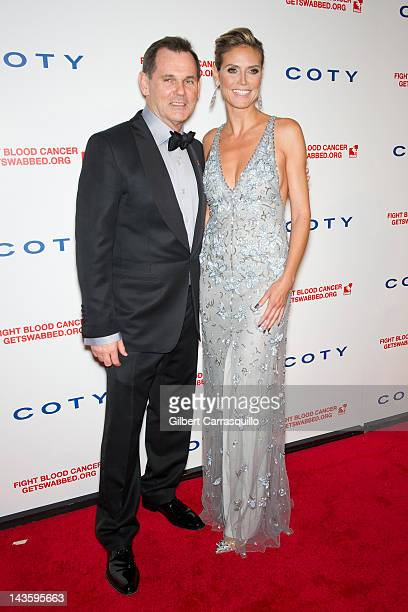 Coty Inc Chief Executive Officer Bernd Beetz and Heidi Klum attend the 6th annual DKMS Linked Against Blood Cancer gala at Cipriani Wall Street on...