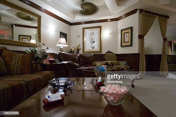 Couches sit in the parlor of the Chicken Ranch brothel in Pahrump Nevada US on Thursday Jan 26 2012 The Nevada Republican presidential caucus will be...