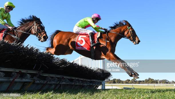 Cougar Express ridden by Shane Jackson wins the Grand National Hurdle at Ladbrokes Park Lakeside Racecourse on August 05 2018 in Springvale Australia