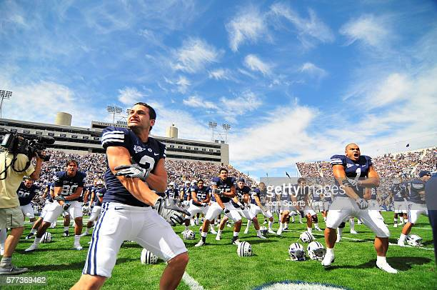 Cougars perform the Haka prior to kickoff. The BYU Cougars defeated the Wyoming Cowboys 44-0 at LaVell Edwards stadium in Provo, Utah.