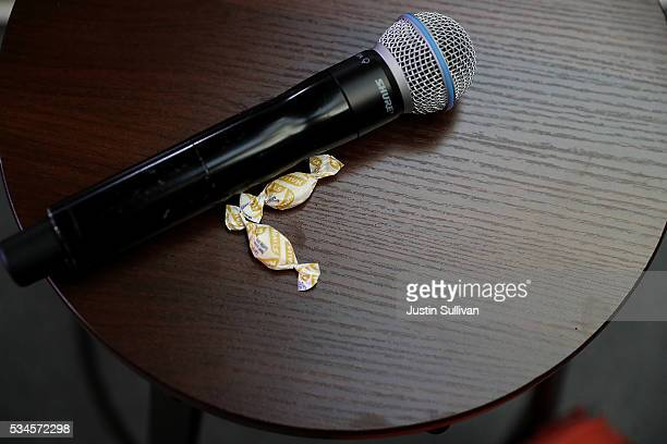 Cough drops and a microphone sit on a stool for democratic presidential candidate former Secretary of State Hillary Clinton during a campaign event...