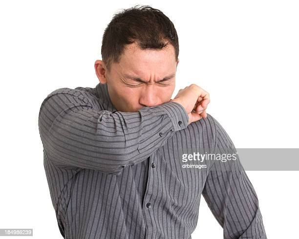 coughing or sneezing man - long sleeved stock pictures, royalty-free photos & images