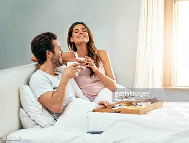 i could wake up like this every day - breakfast in bed stock pictures, royalty-free photos & images