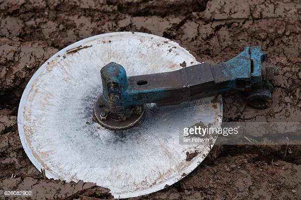 Coulter disc from a plough lies in the soil during the annual ploughing match on November 27, 2016 in Staithes, United Kingdom. The event which is...