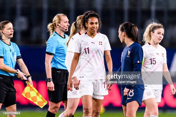 Coumba Sow of Switzerland talks to Clara Mateo of France during the friendly match between France and Switzerland at Saint-Symphorien Stadium on...