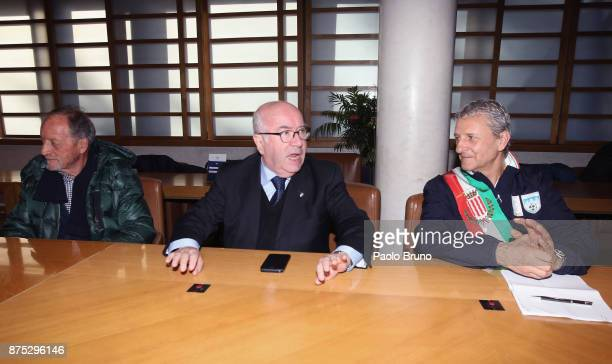 FIGC Councellor Renzo Ulivieri FIGC President Carlo Tavecchio and Mayors national team President Mirko Patron attend the meeting on November 17 2017...
