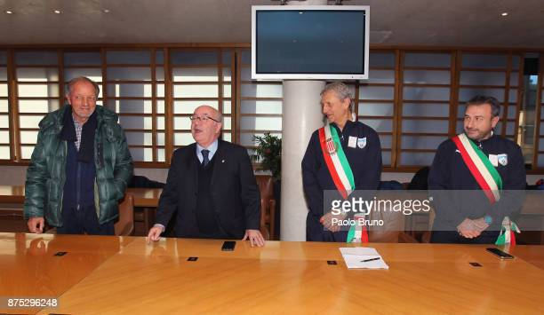 FIGC Councellor Renzo Ulivieri FIGC President Carlo Tavecchio Mayors national team President Mirko Patron and the head coach Angelo Campi attend the...