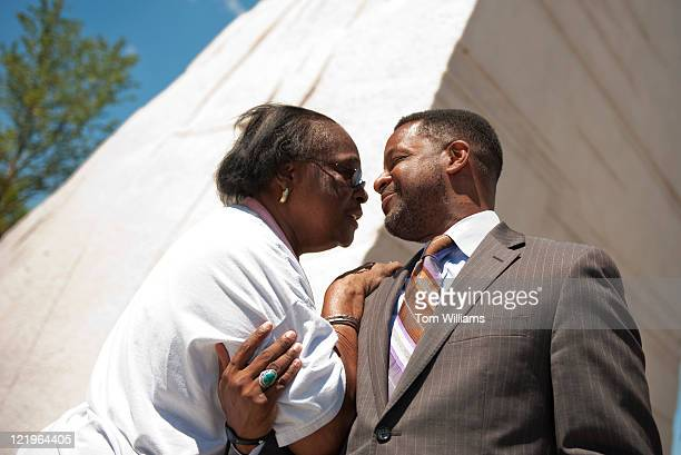 Council Chairman Kwame Brown greets Marilyn M Simmons of Chillum Md at the entrance of the Martin Luther King Jr Memorial The memorial located on the...