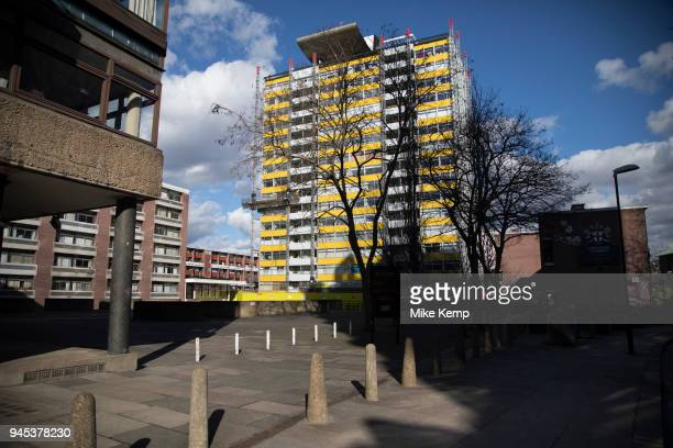 Council flats in Barbican, London, United Kingdom. Council estates like this are very common all over the capital, which is the most densely...